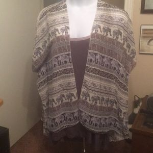 Elephant cardigan and 3x Lotus Traders gray tank